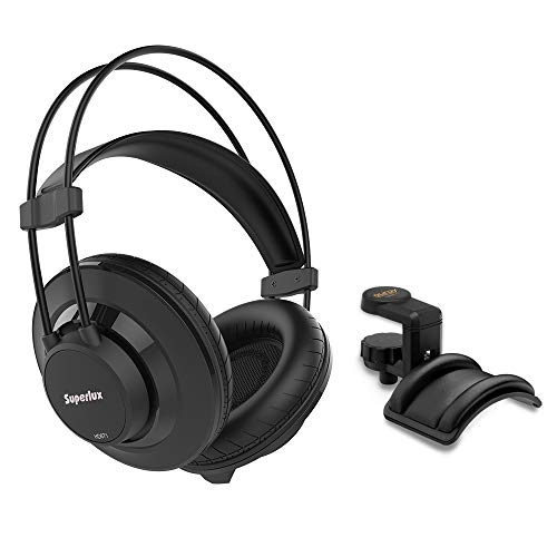 Superlux HD-671 Closed-Back Over-Ear Headphone with Headphone Holder and Padded Cradle Bundle