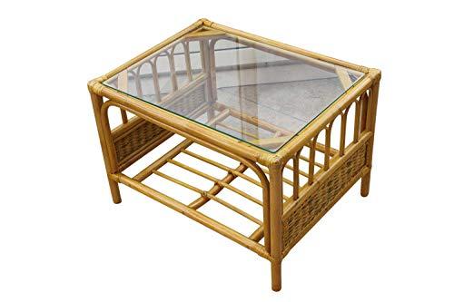 Garden Market Place Sorrento Cane Couchtisch mit natürlichem Finish aus gehärtetem Glas, Natur, 66 X51 X 46