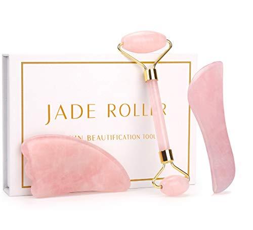 NewL, set di 3 strumenti per massaggio facciale, rulli per massaggio in giada, in quarzo rosa naturale, strumenti anti-invecchiamento per viso, collo, occhi, corpo