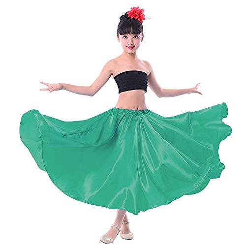 Girl Children Color Stretched Waist Performance Circle Skirt Belly Dance Dress (8/10/12, Dark Green)