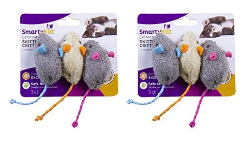 SmartyKat Skitter Critters Cat Toy Catnip Mice, 6-Pack