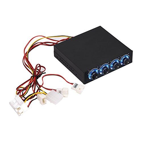 Richer-R Lüfter-Controller, 4-Kanal Lüftergeschwindigkeit Regler Kontroller Lüftersteuerung,3Pin+4Pin Steckverbinder Lüftergeschwindigkeit Blaue LED PC CPU Fan Controller für Computer Desktop