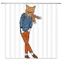 流行に敏感なトレンディな男のようなドレスアップ漫画フォックス楽しい動物浴室の窓の装飾のための生地のホックが付いているポリエステル防水シャワー・カーテン60X72in