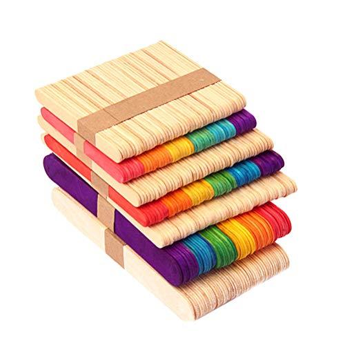Toyvian Palitos de paletas de paletas de Colores 100PCS Palitos de Madera para Manualidades de Bricolaje para niños