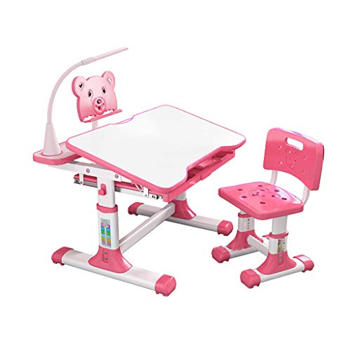 Kids Desk and Chair Set, Height Adjustable Kids Table and Chair Set, Home School Use Anti-Reflective Children Study Table with LED Light/Reading Board/Pull-Out Drawer (80 x 50cm, Tiltable Pink)