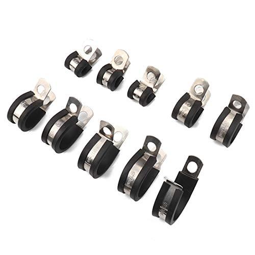 Mit Gummi ausgekleidete P-Clips 10 Stück Auto Gummikissen Rohrschellen Schellen aus Edelstahl, Größe: 1 Zoll (25 mm),