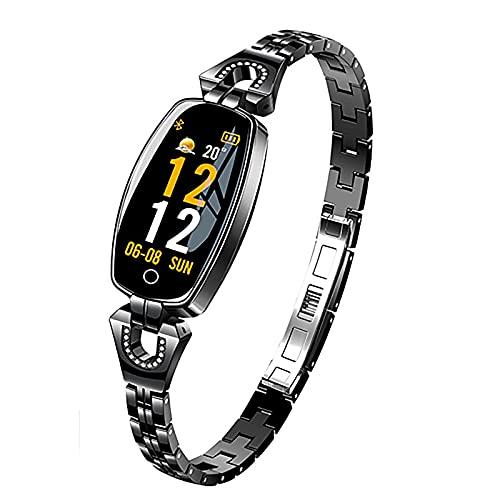 ZGZYL Damas Moda Smart Watch 0.96 Pulgadas OLED Presión Arterial Monitor Monitor De Ritmo Cardíaco Monitor De Cronómetro Podómetro Fitness Tracker Girl Smartwatch para iOS Android,B