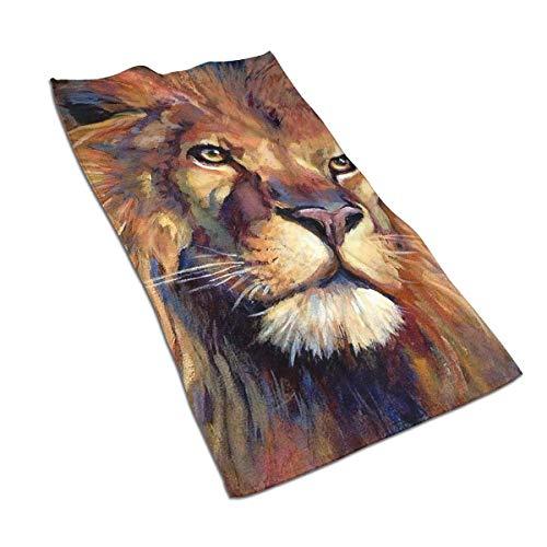 Tyueu Toallas de mano de la cara del león de Judah pintura muy absorbente toalla de microfibra de secado rápido 27.5 pulgadas x 15.7 pulgadas