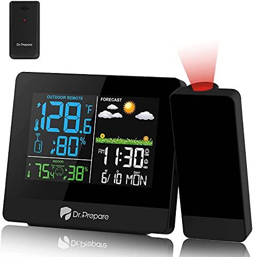 Dr.Prepare Projektionswecker Digitaler Wecker mit Projektion Wetterstation Wecker Projektionsuhr mit Außensensor zeigt Innen- und Außentemperatur für Schlafzimmer Büro Wohnzimmer