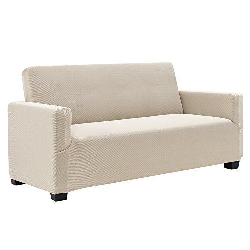 [neu.haus] 2-Sitzer Sofabezug für Breite 120-190cm Sandfarben Schonbezug Sesselüberzug Sofahusse