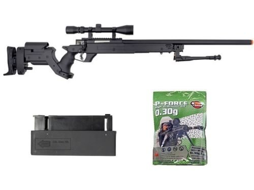 well awn aps2 airsoft sniper rifle bi-pod scope 3,300 .30g bb's extra magazine(Airsoft Gun)