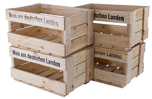 Kontorei 1-12 x Naturfarbene Weinkiste Holz mit Aufdruck 'Wein aus Deutschen Landen', zB. als Fahrradkorb/zur Aufbewahrung, neu, 46x30,5x24cm (1)