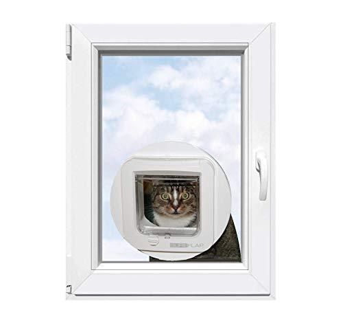 Dolomiten-Glas Isolierglas mit eingebauter SureFlap Mikrochip Katzenklappe, Perfekt isoliert mit 1,1W/m2K Isolierglas, Massanfertigung zur einfachen Selbstmontage!