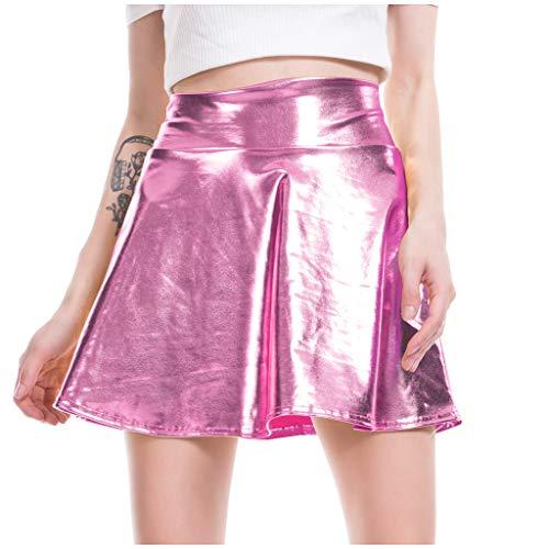 Moonuy Damen Mini High Waist Kleid Lady Girl Dancing Skirt Lässige Mode Shiny Metallic Flared Plissee A Line Minirock