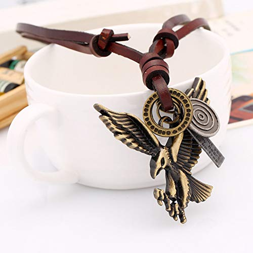 FJKWLC Car Rear View Mirror Pendant Necklace Sweater Chain Literary Retro Fan Imitation Cowhide Rope Leather Adjustable Alloy Eagle Pendant
