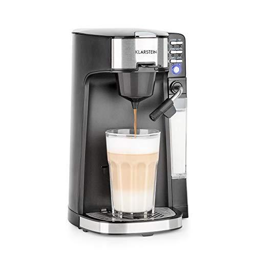 Klarstein Baristomat Heißgetränkeautomat mit integriertem Milchaufschäumer- 2-in-1 Kaffee-Maschine, 350 ml Milchbehälter, zwei Brühgruppen, für Kaffee, Tee, Cappuccino & Latte Macchiato, anthrazit