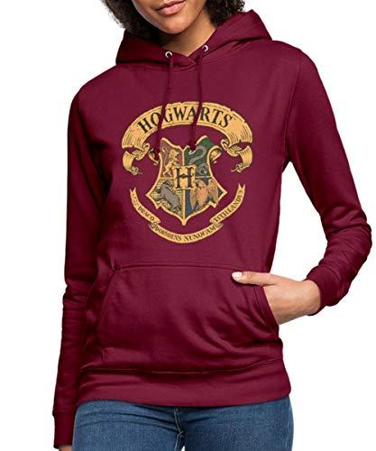 Spreadshirt Harry Potter Hogwarts Wappen Frauen Hoodie, S, Bordeaux
