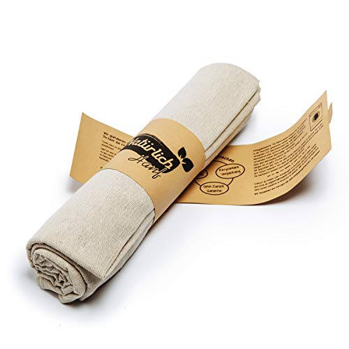 Natürlich Hanf (NEUHEIT) 2er-Set Premium Bäckerleinen getestet von Südtiroler Meisterbäckern – Teigtuch aus 100% Natur-Hanf (120 x 70 cm) - Extra großes Gärtuch - Praktische Backleinen für Backwaren