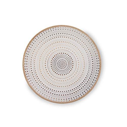 Flanacom Deko Tablett Dekoschale aus Holz - Design Holzschale Rund mit Verzierungen - Moderne Tischdekoration für die Wohnung - Tischdeko für Wohnzimmer oder Flur - Wohnaccessoires (Rund Weiß)