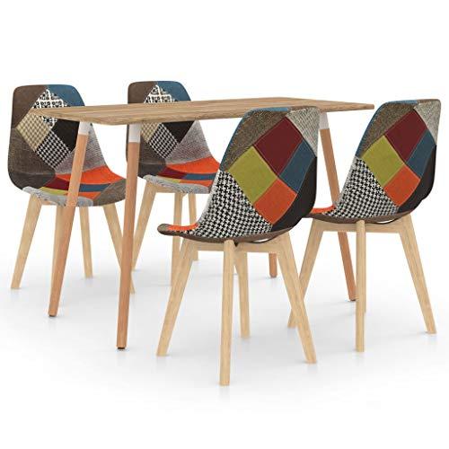 vidaXL Juego de Comedor 5 Piezas Muebles Mobiliario Exterior Hogar Cocina Terraza Asiento Silla Mesa Suave Decoración Moderno con Respaldo Multicolor
