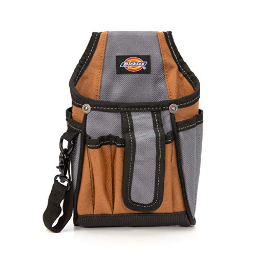 Dickies 7-Pocket Canvas Tech Pouch with Tape Tether, Universal-fit Steel Clip and Tunnel Loop for Tool Belt