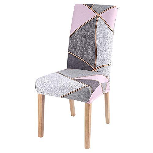 Qier Stuhlhussen Stretch Chair Schonbezug, Elastic Furniture Sitzdekoration, Dining Hotel Büro Bar Chair Protector Covers, Abstraktes Geometrisches Muster, Pink, 6Er-Set