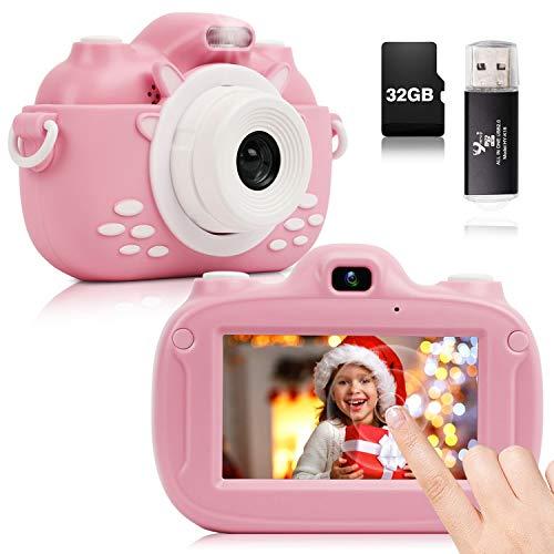 YUNKE Cámara para Niños, Cámara Digital con Pantalla Táctil HD de 3.0 Pulgadas, con Lector de Tarjetas con Correa de Tarjeta de Memoria de 30MP 1080P 32G, de Juguete para Niños de 2 a 12 Años (rosado)