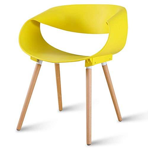 YLLN Modern Dining Chairs Home Schreibtischstuhl Rückenlehne hohl Natur Massivholz Beine Lager 260 Lbs Geeignet für Küchen, Restaurants, Bars, Büros (Farbe: Gelb)
