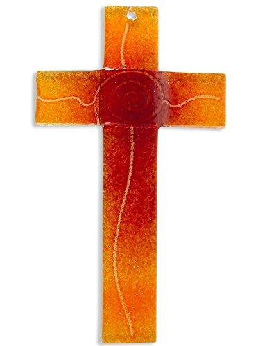 Glaskreuz Spirale orange/rot, Breite 3,2 cm