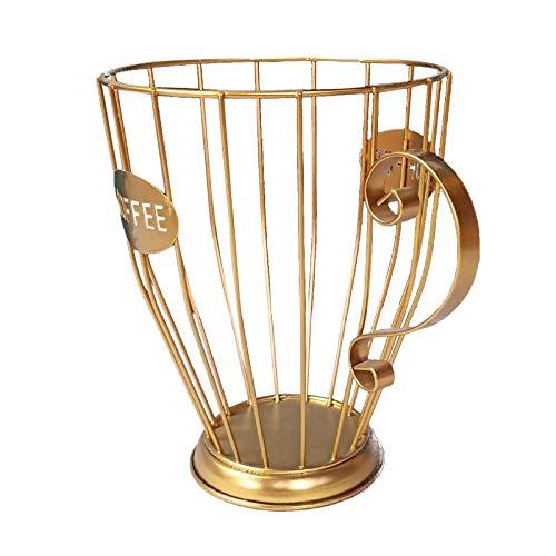 Jiannan Kaffee Kapselhalter, Tassenförmiger Aufbewahrungsbehälter für Kaffeepadhalter für Theken-Kaffeebar Kaffeekapselhalter Multifunktions Theken K-Getränkehalter (Gold)