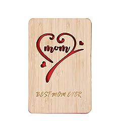 Idea Regalo - Biglietto di auguri per la festa della mamma, realizzato a mano, in legno di bambù per la migliore mamma di tutti i tempi, biglietto di auguri di compleanno per la mamma