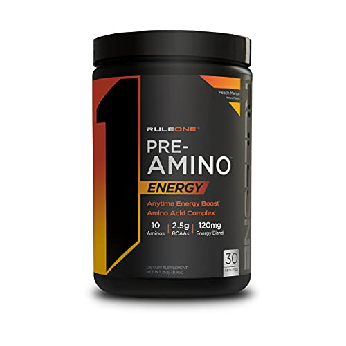 Rule One Proteins, R1 Pre Amino – Peach Mango, Anytime Energy Boost, Amino Acid Complex, Caffeine from Green Tea and Coffee Extracts, Energy, Endurance, Focus Support, 30 Servings