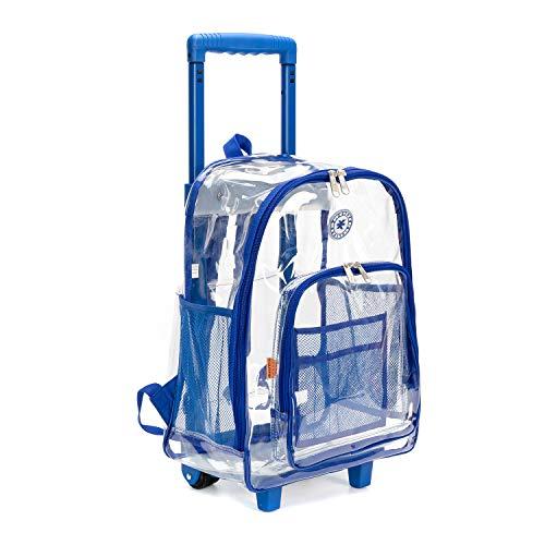 Mochila enrollable transparente resistente a través de la mochila escolar con ruedas, Viajar, Azul Royal, 17 pulgadas