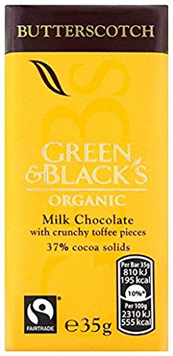 Green & BLACK'S Organic Milk Chocolate with Butterscotch 35g (Pack of 30)