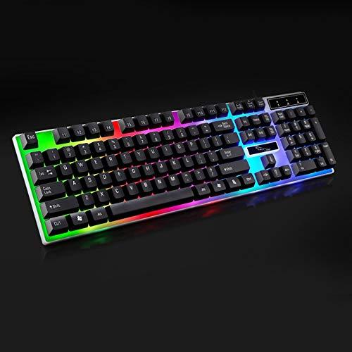 N/V G21 USB-Tastatur mit Kabel, mechanisch, gehängt, LED, bunte Hintergr&beleuchtung, Gaming-Tastatur, wasserdicht, für PC / Computer / Gamer