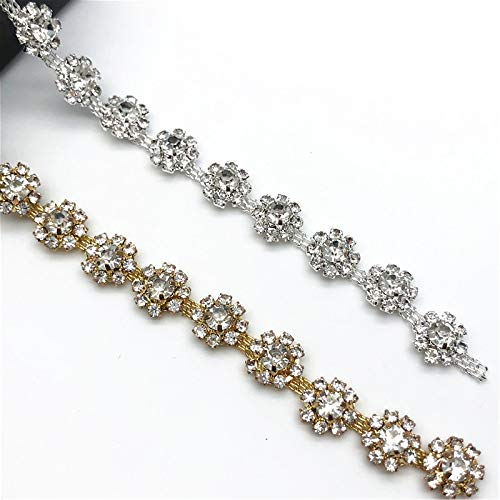 1Yard Silver/Gold Flower Crystal Trim Rhinestone Chain for DIY Clothes Accessory Dress Belts Headpiece Jewelry Decoration (Silver)