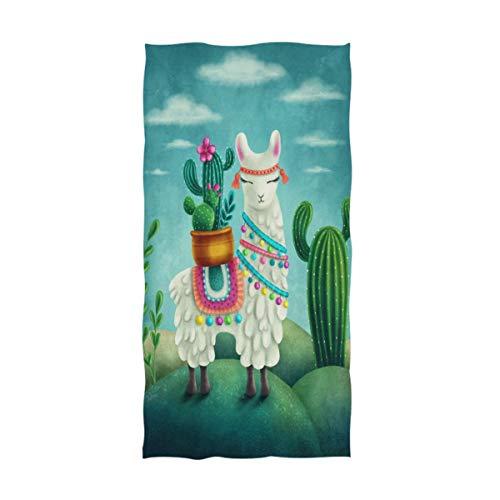 Bert-Collins Toallas de Mano de Alpaca Toalla de Cactus de Dibujos Animados de Llama Toalla de Cocina de baño Multiusos Ultra Suave Altamente Absorbente (40x70cm)