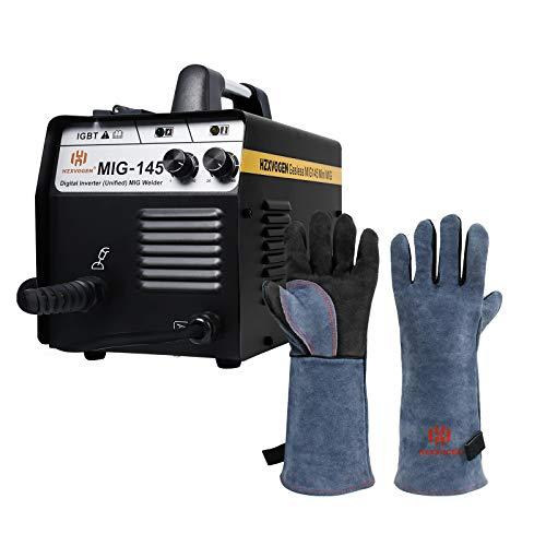 HZXVOGEN MIG Welder 220V 145A No Gas Gasless Welding Machine & 6 Inches 932℉ Heat Fire Resistant Welding Gloves BBQ Grill Gloves for Arc Tig Mig Wood Stove Barking Oven Fireplace Welder Gloves