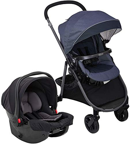 Graco Time2Grow i-Size Travel System (Pushchair & Car Seat, Birth to 3 Years Approx, 0-15kg) with Raincover, Denim