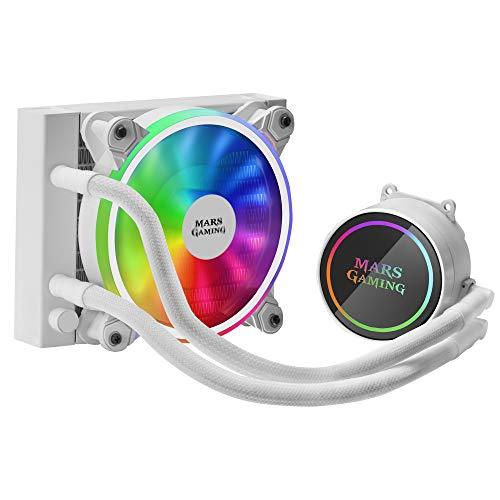 MARSGAMING ML120W, Refrigeración líquida, TDP 200W, Ventilador Dual ARGB, Blanco