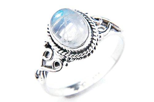 Ring Silber 925 Sterlingsilber Regenbogen Mondstein weiß Stein (Nr: MRI 42), Ringgröße:62 mm/Ø 19.7 mm