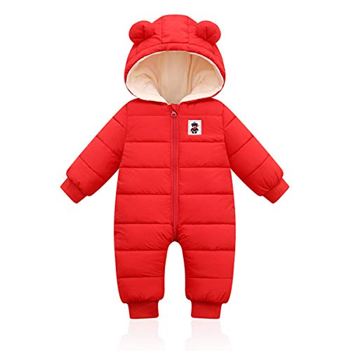 Bambini Pagliaccetto con Cappuccio Invernale, Neonato Snowsuit Ragazze Ragazzi Manica Lunga Fleece Outfits Outwear Vestiti Pigiama Regalo 6-9 Mesi(80),Rosso