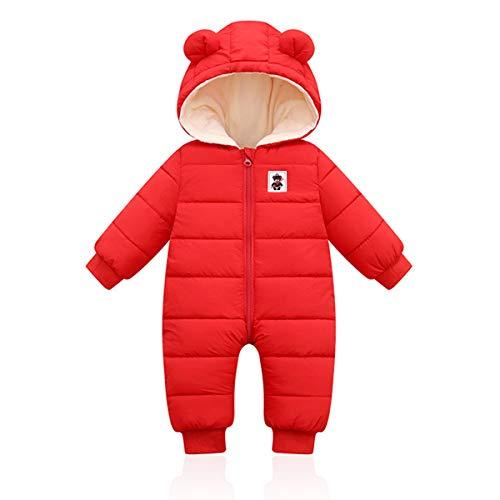 Bebé Invierno Mamelucos con Capucha, Niñas Niños Ropa Traje de Nieve Manga Larga Fleece Monos Outfits Peleles Calentar Abrigo Regalos 12-18 Meses,Rojo