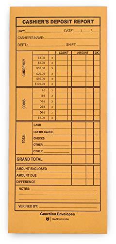 "Guardian Cashier's Deposit Report Envelopes, 4-1/2"" x 10-3/8"", Brown Kraft, 500/Box"