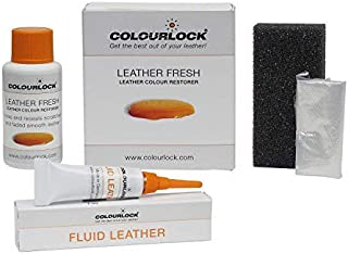 Colourlock Leather Fresh Dye 30 ml & Fluid Leather Filler to Repair Scuffs, Colour damages, Light Scratches on Side bolsters and car interiors Compatible with BMW Cognac