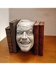 """2021 Nieuwe Boek Plank Sculptuur, Sculptuur Van De Shining-bookend-bibliotheek-""""Hier is Johnny""""Beeldhouwkunst, Creatieve Levensechte Hars Desktop Ornament, Sculptuur Van De Glanzende Bibliotheek (18x11x1cm)"""
