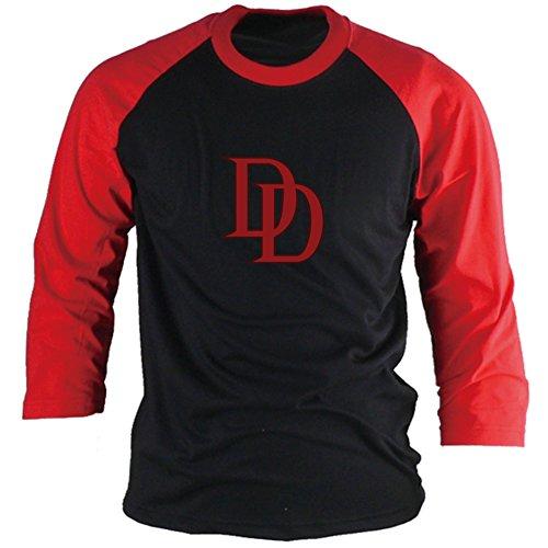 AZAZAZA Daredevil Camisetas 3/4 Raglan Manga Redonda Preto/Vermelho, Black/Red, XS US size (S tag size)