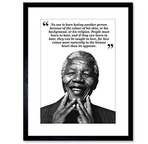MGSHN Nadie ha Nacido odiando a Nelson Mandela BW Cita Pintura Cartel Obra de Arte decoración de Fondo impresión en Lienzo 60x80cm sin Marco