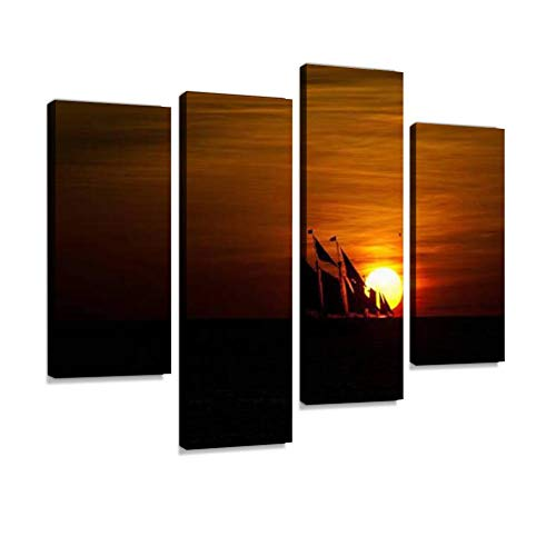 HIPOLOTUS 4 Panel Canvas Pictures Sailboat Crossing Setting Sun on The Open Ocean Pirate Ships and Wall Art Prints Paintings Stretched & Framed Poster Home Living Room Decoration Ready to Hang