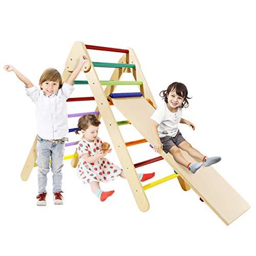 Bamny Klettergerüst Kinder Kletterdreieck mit rutsche Triangle Gym Dreieck Pikler Dreieck für Drinnen und Draußen